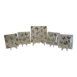 Mid-Century Modern Georges Briard Square Gold Butterfly Glass Serving Plates - Set of 5