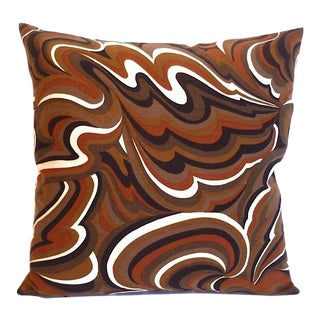 Vintage Mod Op Art Swirl Print Square Pillow For Sale
