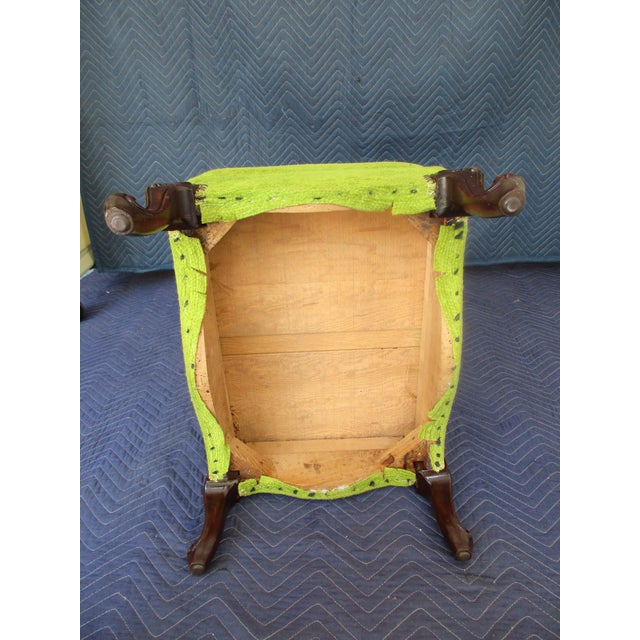 French Style Footstool With Mid-Century Modern Fabric For Sale - Image 10 of 11