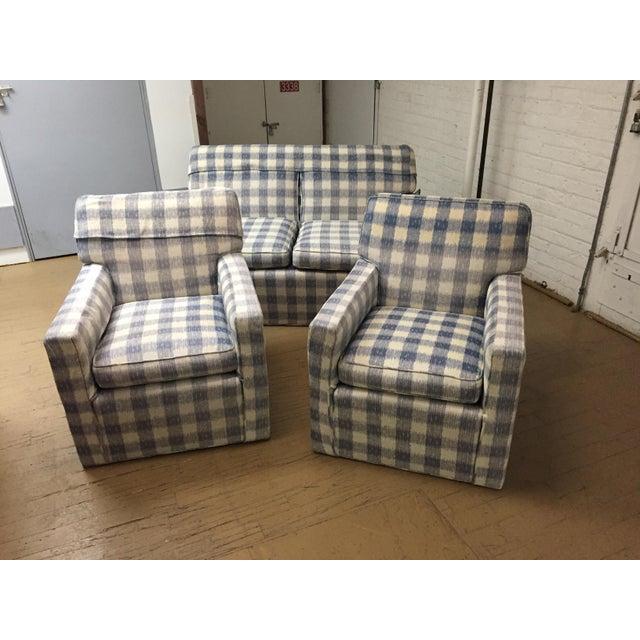 Kravet Kravet Brunschwig & Fils Upholstered Down Filled Arm Chairs For Sale - Image 4 of 11