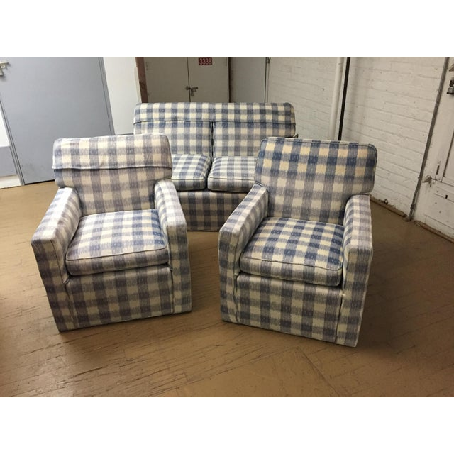 Kravet Mid-Century Brunschwig & Fils Upholstered Down Filled Arm Chairs For Sale - Image 4 of 11