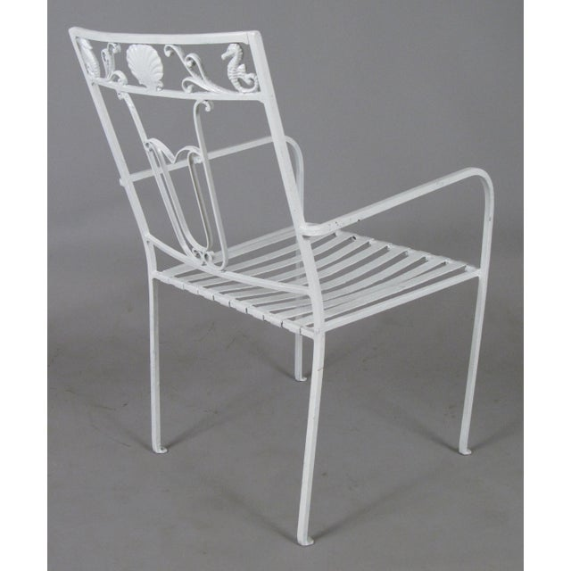 1960s 1950s Seashell & Seahorse White Patio Chairs - Set of 6 For Sale - Image 5 of 8