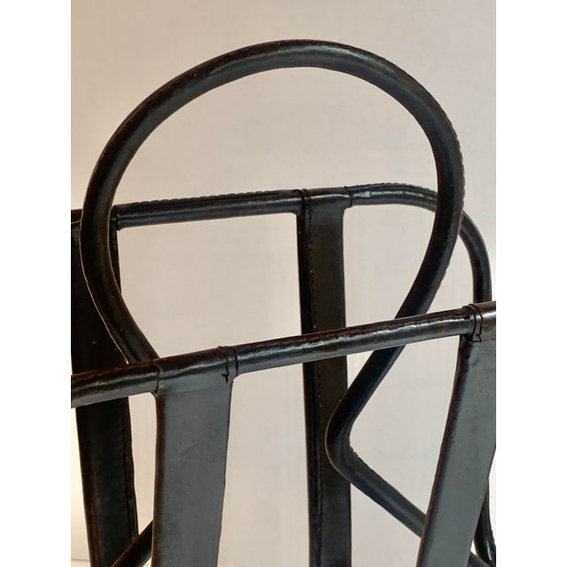 Brown Jacques Adnet Leather Magazine Rack For Sale - Image 8 of 11