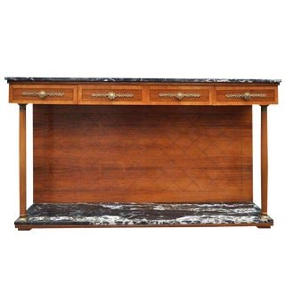 1950s French Empire Marble Rosewood Cherry Server Sideboard For Sale