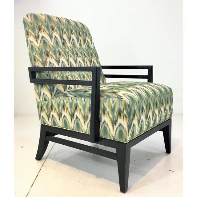 Thomasville Modern Green Herringbone Print Lounge Chair For Sale In Atlanta - Image 6 of 6