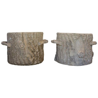 1950s Vintage Large French Faux Bois Tree Stump Planters- A Pair For Sale