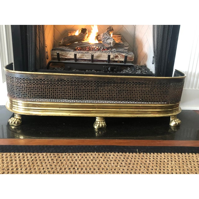 Gold 1920s Antique Brass Fireplace Fender With Log Catcher For Sale - Image 8 of 11