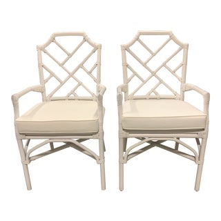 New New Pacific Direct Kara Rattan White Arm Chairs For Sale