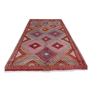 Anatolian Kilim Turkish Embroidery Rug-6′3″ × 10′ For Sale