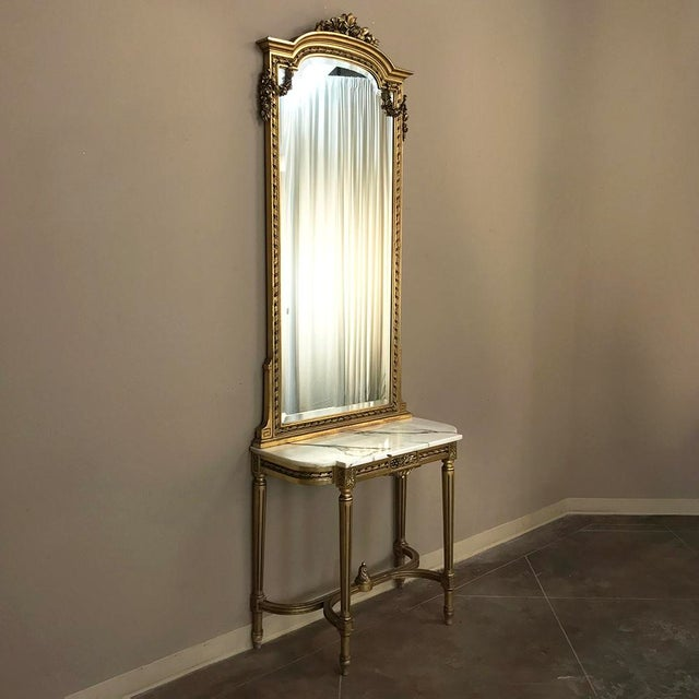 French 19th Century French Louis XVI Marble Top Giltwood Console With Mirror For Sale - Image 3 of 12