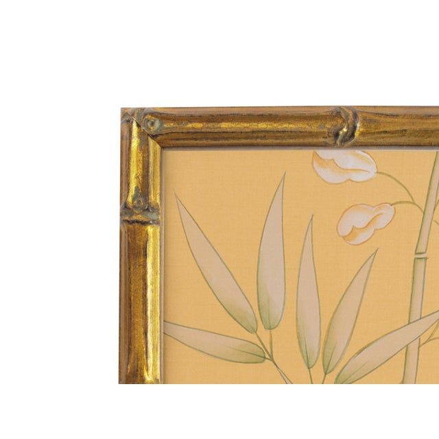 Newly framed in an antique gold solid wood moulding carved to resemble bamboo and hand-gilt. Vintage hand-painted...