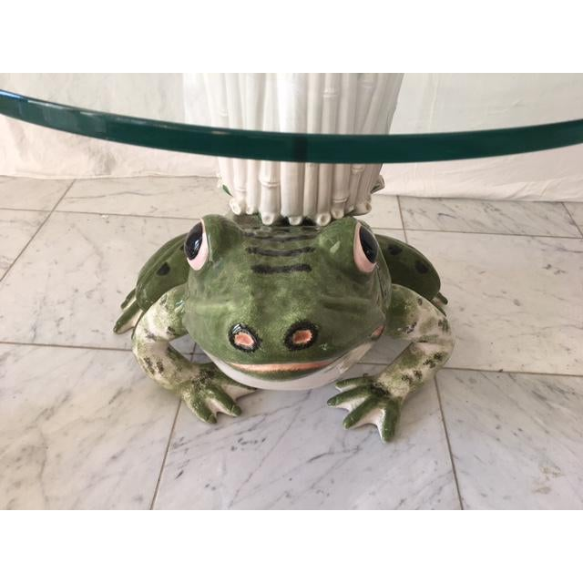 Glass Italian Ceramic Glass Top Frog Table For Sale - Image 7 of 7