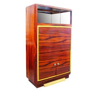 High Style Art Deco Macassar Ebony Vitrine Cabinet with Bar and Secretary Desk For Sale