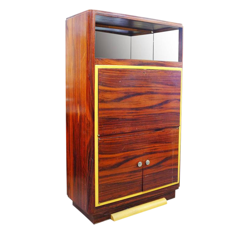 High Style Art Deco Macassar Ebony Vitrine Cabinet With Bar And Secretary  Desk   Image 1