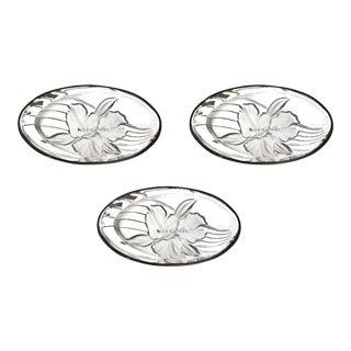 Home Original Design Crystal Floral Gold Trim Oval Shape Dishes - Set of 3 For Sale