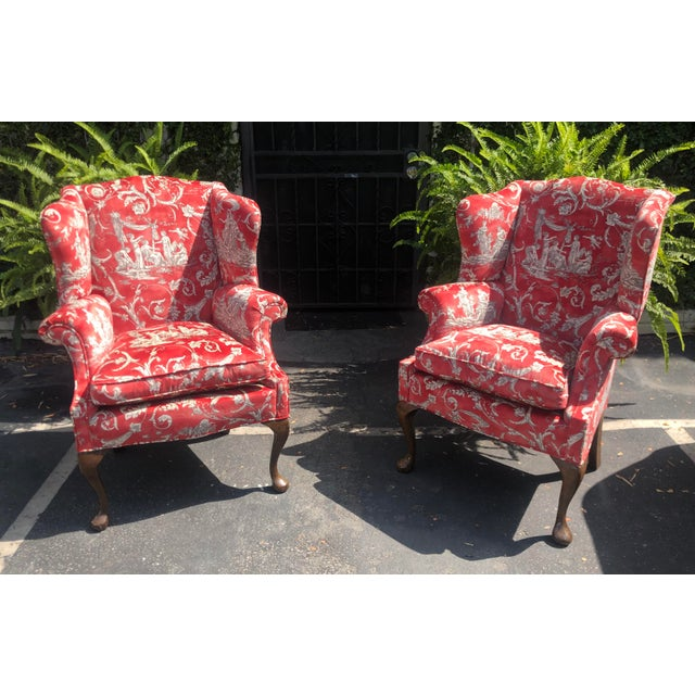 Late 19th Century Petit Antique Queen Anne Wingback Arm Chairs with Red Romantic Velvet - a Pair For Sale - Image 5 of 5
