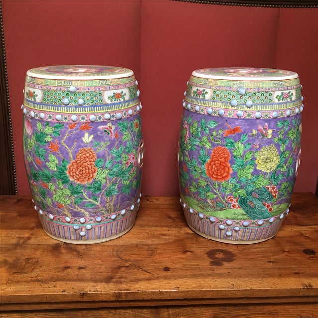 Pastel Colored Chinese Garden Stools - A Pair - Image 3 of 10