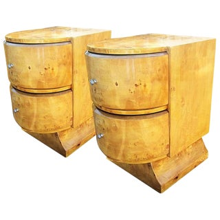 Pair of Burled Wood Art Deco Style Nightstands For Sale