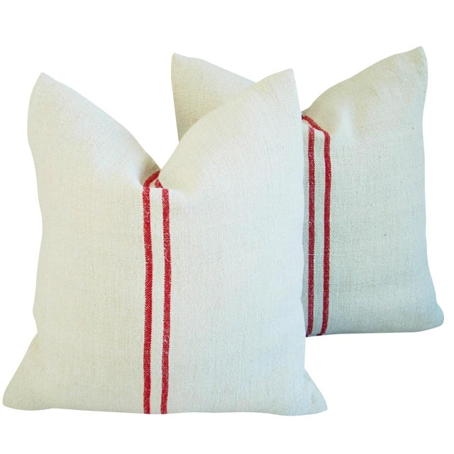 French Red Striped Grain Sack Down/Feather Pillows - Pair For Sale
