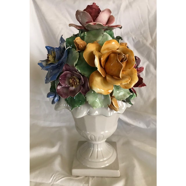 Capodimonte Style Porcelain Flower Arrangement - Image 3 of 6