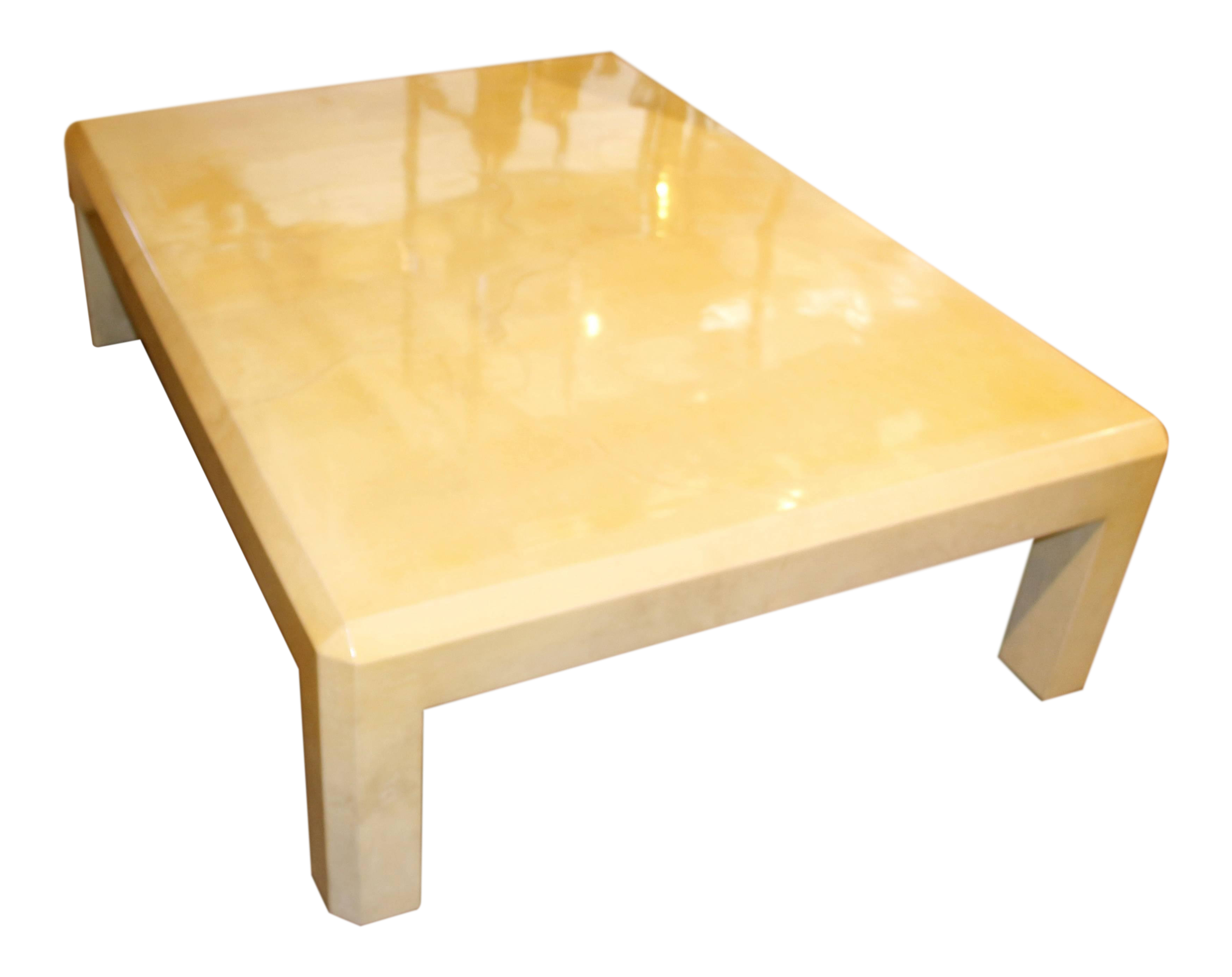 Karl Springer Goatskin Lacquered Coffee Or Cocktail Table
