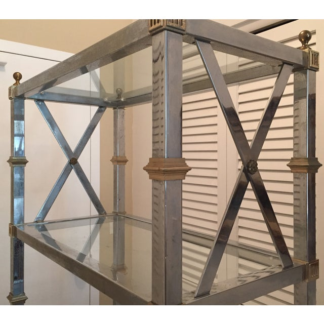 Maison Jansen Style Chrome & Brass Etagere For Sale In New York - Image 6 of 9