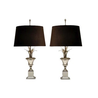 Silvered Metal Urn-Form Table Lamps With Casa Branca Custom Shades in Chocolate Brown Velvet - a Pair For Sale