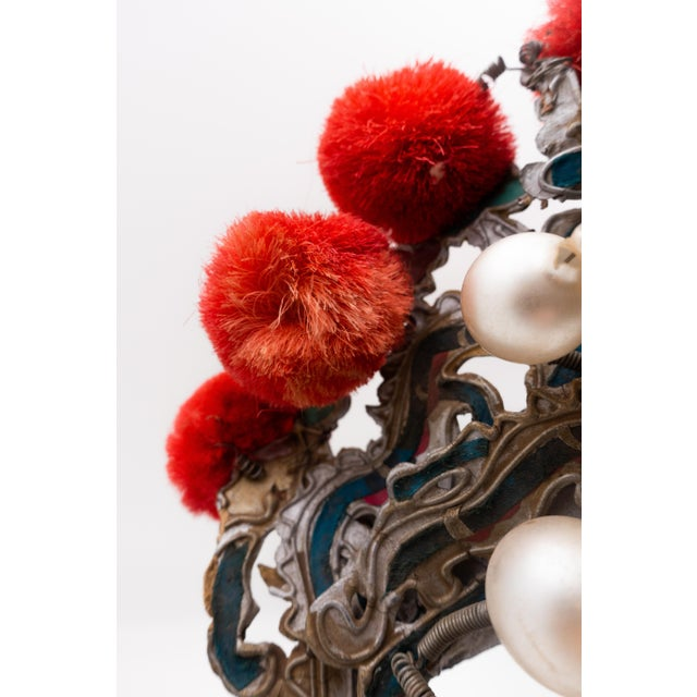 Early 20th Century Antique Chinese Theatre Opera Headdress in Turquoise and Coral Colored Pom Poms For Sale - Image 5 of 6