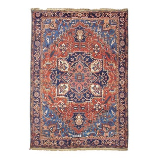 Orange & Blue Heriz Rug - 9′ × 12′2″ For Sale