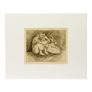 """Vintage Drawing of Husband and Wife, Signed """"Escalera '41 For Sale"""