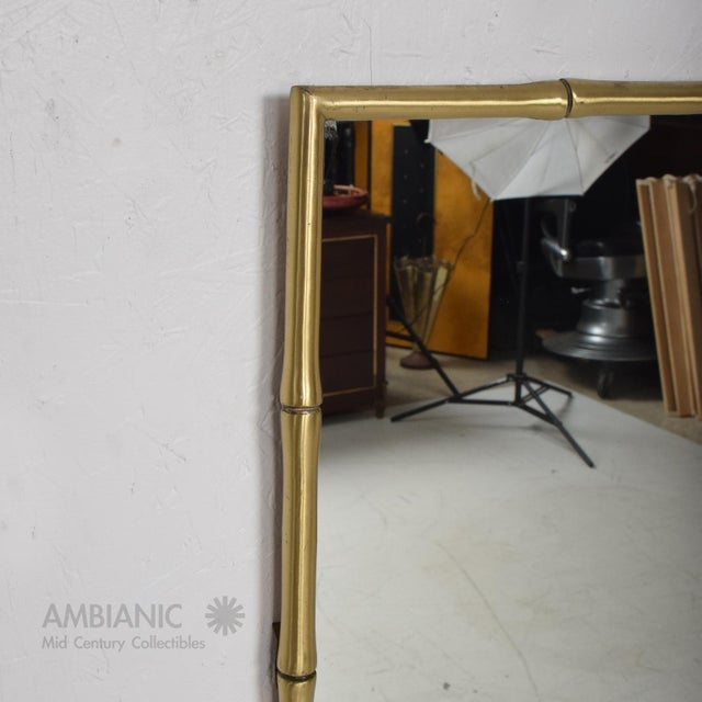 Hollywood Regency Faux Bamboo Brass Mirror Frame For Sale - Image 4 of 9