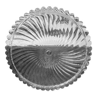 1960s Swirl Glass Cake Plate - Heavy Vintage Footed Pastry Platter For Sale