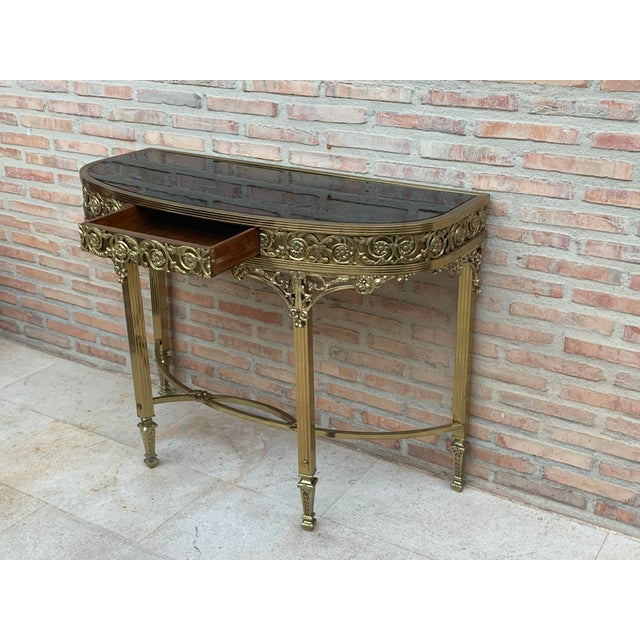 French Bronze Kidney Mirrored Dressing Table or Vanity With One Drawer For Sale - Image 4 of 9
