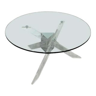 Contemporary Modernist Pace Style Glass Chrome Lucite Coffee Table For Sale