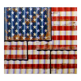 """Ross Tamlin Photorealistic """"Metal Flag"""" Oil and Enamel on Canvas Painting For Sale"""