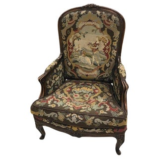 Louis XV Style Carved Walnut & Needlework Bergère Chair From Kasteel Van Rumbeke For Sale