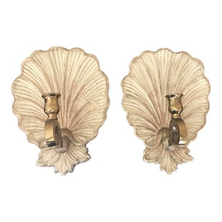 Vintage 1970s Carved Wood and Brass Shell Candle Sconces - a Pair For Sale
