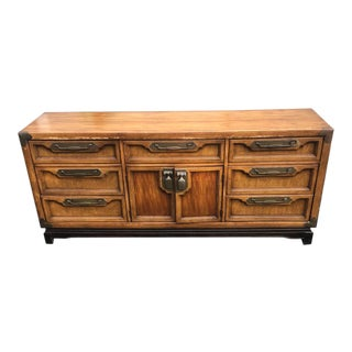 Vintage Walnut Chinoiserie Credenza For Sale