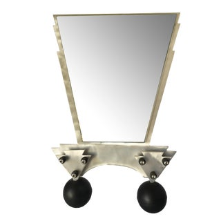 Custom Memphis Style Machined Metal Table Top Vanity Mirror For Sale
