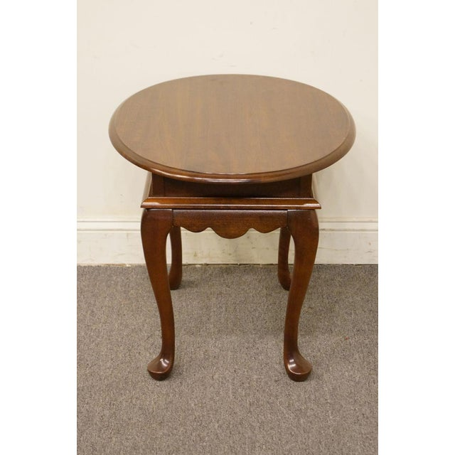 Brown Mersman Solid Cherry Queen Anne Oval End Table For Sale - Image 8 of 8