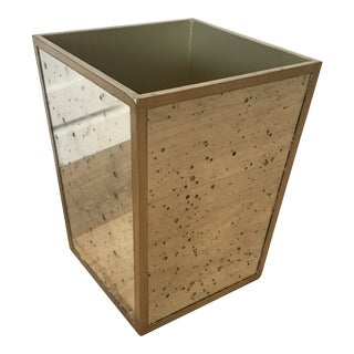 Atwater Mirrored Wastebasket For Sale