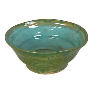 Modern Blue Green Ceramic Bowl For Sale