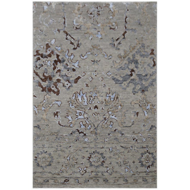 Traditional Harwich Hand-Knotted Bamboo SilkLight Blue Rug - 8'x10' For Sale - Image 3 of 8