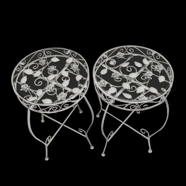 Palm Springs Regency White Iron Rose Bud Decorated Side Tables - a Pair For Sale In Palm Springs - Image 6 of 12