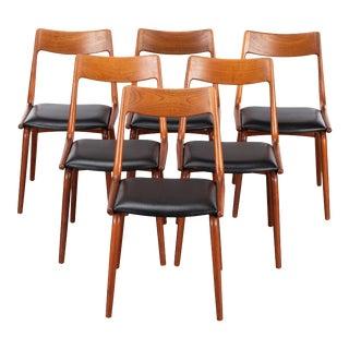 Midcentury Teak Boomerang Chairs #370 by E. Christensen for Slagelse - Set of 6 For Sale