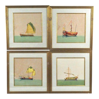 Asian Trade Prints in Gilt Frames - Set of 4 For Sale