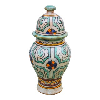 Moorish-Patterned Ceramic Lidded Urn For Sale
