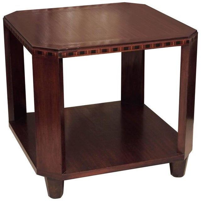Wood 2-Ties Art Deco Side Table in Mahogany For Sale - Image 7 of 7