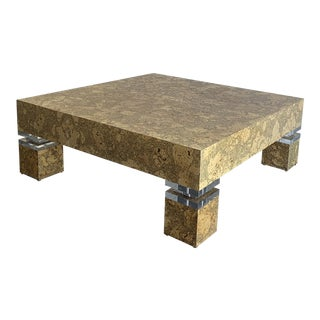 Cork and Lucite 1970s Coffee Table For Sale