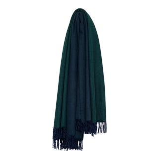 Arran Reversible Cashmere Throw, Navy Blue and Tartan Green For Sale